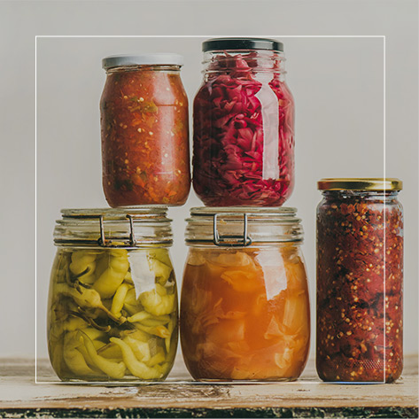 Jars containing foodstuffs